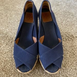 Tory Burch Filipa Navy Canvas Peep Toe Wedge Shoes